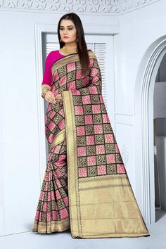 Women's Banarasi silk Checks Weaving saree with Blouse piece Banarasi Sarees, Silk Sarees, Buy Sarees Online, Saree Styles, Saree Blouse Designs, Saree Wedding, Indian Dresses, Lady In Red, Color Combinations