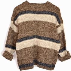 Vintage 90s Grunge Brown Sweater Striped Wool Sweater
