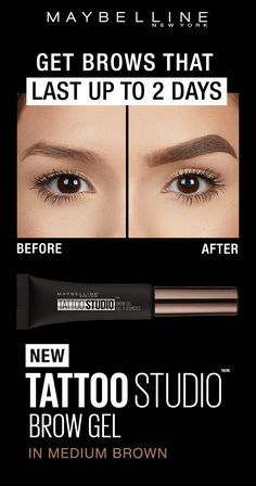 Tattoo Studio Waterproof Eyebrow Gel creates fuller-looking definition that last for days. Fill and color your eyebrows with this ultra-resistant and waterproof eyebrow gel. The sculpting tip and eyebrow spoolie brush work together to create fuller-lookin Beauty Tips For Face, Beauty Makeup Tips, Beauty Hacks, Makeup Dupes, Eyebrow Makeup, Hair Makeup, Eyebrow Tips, Makeup Kit, Makeup Products
