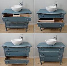 New Bathroom Sink Diy Vanity Antique Dressers Ideas Dresser Vanity Bathroom, Vessel Sink Vanity, Wood Bathroom, Bathroom Towels, Bathroom Furniture, Bathroom Tray, Bathroom Ideas, Bathroom Cabinets, Antique Bathroom Vanities