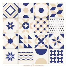 Bege Coleção telhas de cerâmica azul e Vetor grátis