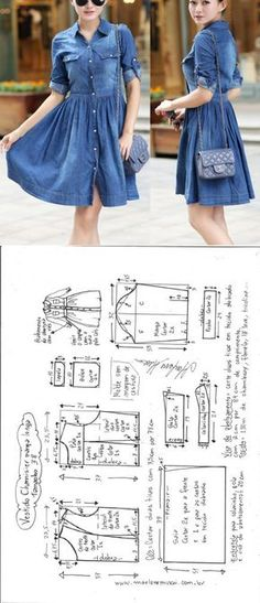 Vestido Chamesier manga longa – DIY – molde, corte e costura – Marlene Mukai
