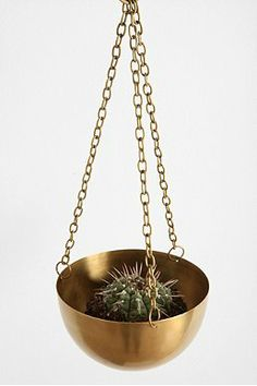 ::: Urban Outfitters : Hanging Brass Planter :::