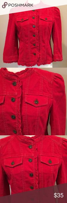 "Loft Corduroy Jacket Adorable corduroy fitted jacket from Loft. Cheery burnt red color, 7/8 sleeves and a cute, small ruffled collar. In great preloved condition. Bust is 21.5"" when buttoned and it falls to the high hip. Size 10. LOFT Jackets & Coats"