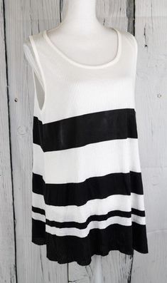 Asos Women's Rib Tunic Tank Top Blouse Tee Sleeveless White Black US Size 12 #Asos #KnitTop #Casual