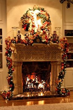 Elegant Christmas Decorating Ideas       Sparkling Natural Green and     Image result for Fireplace Mantel Christmas Decorating Ideas