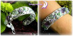 *Enchanted Dream* Parure bracelet, boucles d'oreilles et pendentif argenté en fil aluminium, perles aventurine, chips d'améthyste, perles
