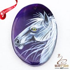 Hand Painted Horse Agate Slice Gemstone Necklace Pendant Jewelry D1707 0421 #ZL #Pendant