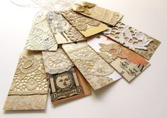 Victorian Lace and Paper Scrap Shimmer Tags by XmasMuse on Etsy