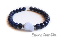 Anxiety Relief Healing Energy Bracelet with Blue Lace Agate and Lapis Lazuli by HealingGardenShop.  All bracelets are infused with Reiki.
