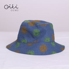 Handmade linen bucket hat in blue color with original linocut print pattern - tangerines and limes. Fruit Pattern, Limes, Linocut Prints, Smoothie, Ale, Bucket Hat, Print Patterns, Handmade, Accessories