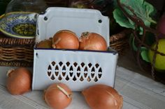 Vintage French Enamelware Onion Keeper Fabulous by PatinaVille, $72.00