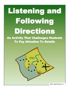 Listening and Following Directions Activity With Lesson Plan. Repinned by SOS Inc. Resources @SOS Inc. Resources.