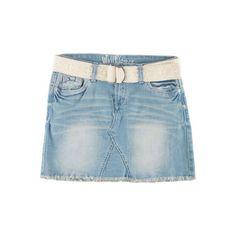 Bongo Juniors Crochet Belted Denim Mini Skirt ($38) ❤ liked on Polyvore featuring skirts, mini skirts, light wash blue, denim miniskirt, denim skirt, crochet skirt, short denim skirts and blue mini skirt