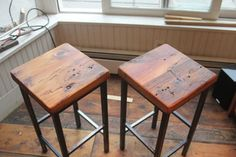 Reclaimed Pine on Metal Square Bar Stools by Vermontfarmtable - eclectic - bar stools and counter stools - Etsy