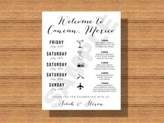 Welcome to Chic Weddings by Jamie Irene!    This listing is for a Printable, Custom Destination Wedding Welcome Bag Weekend Itinerary. ABOUT THIS PRODUCT  ________________________________________________________    You will receive a customized, digital file of the Destination Wedding Welcome Bag Weekend Itinerary    * This listing is for a DIGITAL file only.      HOW TO ORDER  ________________________________________________________    1. Purchase this listing. 2. Provide the details…