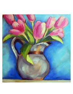 Pink Tulips -- contemporary artwork by Kristina Wentzell, 8x8 fine art print on paper