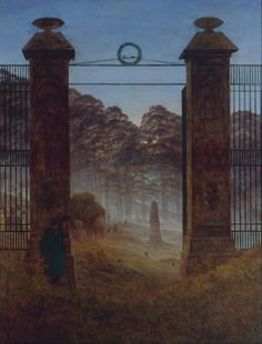 "Caspar David Friedrich: ""The Cemetery Entrance"", ca 1825, oil on canvas Dimensions: 143 × 110 cm (56.3 × 43.3 in), New Masters Gallery, Dresden. Google Art Project.jpg"