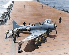 A Douglas SBD Dauntless dive bomber from Bombing Squadron Eight (VB-8) aboard USS Hornet CV-8 during the Battle of Midway, June 4th, 1942 Early on the morning of June 4, the 'Hornet' was ordered to launch all of its available aircraft to search for and attack the Japanese carriers. The attack group consisted of Fighter Squadron Eight (VF-8) flying Wildcat F4F's, Bombing Squadron Eight (VB-8) and Scouting Squadron Eight (VS-8) flying Dauntless SBDs, and Torpedo Squadron Eight (VT-8) flying…