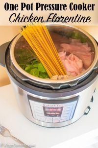 One pot pressure cooker chicken florentine - 20 minute start to finish including prep time.