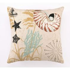Nautilus Embroidered PillowNautilus Embroidered Pillowis a lovely shell pillow with coral, starfish and conch shells decorating the coastal throw pillow.  This Seashell Pillowhas matching designs to it that include the Scallop and Sea Star Throw Pillows.  Beach Throw Pillowmeasures: 16X16 Inches