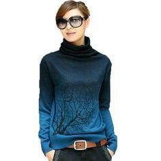 Turtleneck Branch Print Sweater