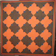 LOG CABIN LIGHT AND DARK ANTIQUE QUILT, cheddar, teal, green, brown; Laura Fisher Quilts