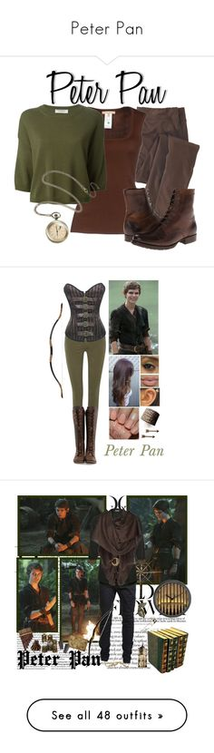 """""""Peter Pan"""" by divergentlover-i ❤ liked on Polyvore featuring Woolrich, Michael Kors, Valentino, Frye, Disney, redisthewolf, lunamistebounds, Once Upon a Time, Paige Denim and John Fluevog"""