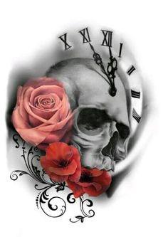 Resultado de imagem para beautiful skull tattoos for women Tatuajes Tattoos, Kunst Tattoos, Neue Tattoos, Bild Tattoos, Tattoo Drawings, Tattos, Skull Tattoo Design, Skull Tattoos, Body Art Tattoos