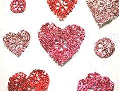 glittered heart doilies