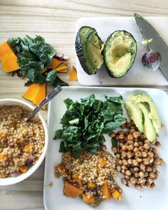 "CHRISTIE-LEE SWADLING on Instagram: ""Lunch, roasted chickpeas with a pumpkin coscos salad and a side of av """