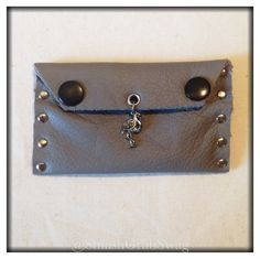 Leather Card Holder - Grey -  'Charming Flamingo'