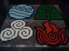The four elements from Avatar The Last Airbender beadsprite