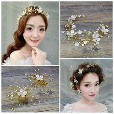 複古田園金色花枝珍珠發箍 新娘結婚禮服額飾品 影樓造型貝殼頭飾