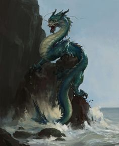 water dragon on the cliffs