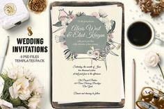 8 Wedding Invitations Pack by Webvilla on @creativemarket