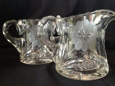 American Brilliant Patterned Deep Cut Leaded Floral Daisy Glass Creamer Sugar on Etsy, $67.50