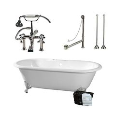 Randolph Morris Clawfoot Tub Package - 66-inch Cast Iron Double Ended Bathtub, Telephone Faucet with Fixtures