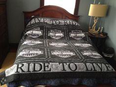 Harley Davidson quilt in blacks and grey tones