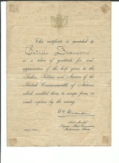 Certificato rilasciato da H.R.Alexander per meriti partigiani. Petrin Francesco (1906-1980) Wikipedia https://it.wikipedia.org/wiki/Francesco_Petrin