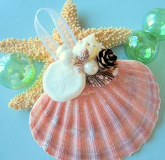 Beach Decor Seashell Christmas Ornament  by beachgrasscottage, $14.00