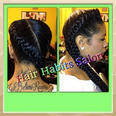 Under braids to the side. I saw someone with this style today. It was so different & pretty.