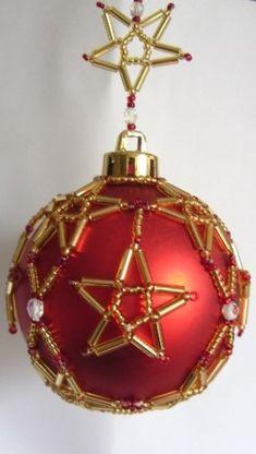 beaded christmas ornament patterns | X601 Bead PATTERN ONLY Beaded Starburst Christmas Ornament Cover ...