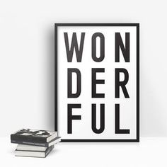 'Wonderful' Monochrome Typographic Print - typography