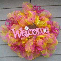Welcome Spring Deco Mesh Wreath by EnchantedWreaths on Etsy, $55.00