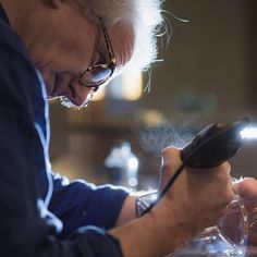 Philip Lawson Johnston showing the spray that's created when glass engraving Engraving Tools, Glass Engraving, Cool Words