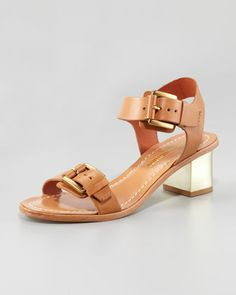 Ilissa Low-Heel Leather Sandal, Saddle by Pour la Victoire at Neiman Marcus.