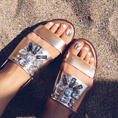 Metallic flatform and minx pedicure - sandra bendre