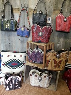 Custom leather cowboy boot purses and handbags. One of a kind, signed and numbered designer leather western purses. Leather Tooling, Leather Purses, Leather Bags, Leather Totes, Leather Backpacks, Leather Clutch, Cowboy Boot Crafts, Purse Display, Old Boots