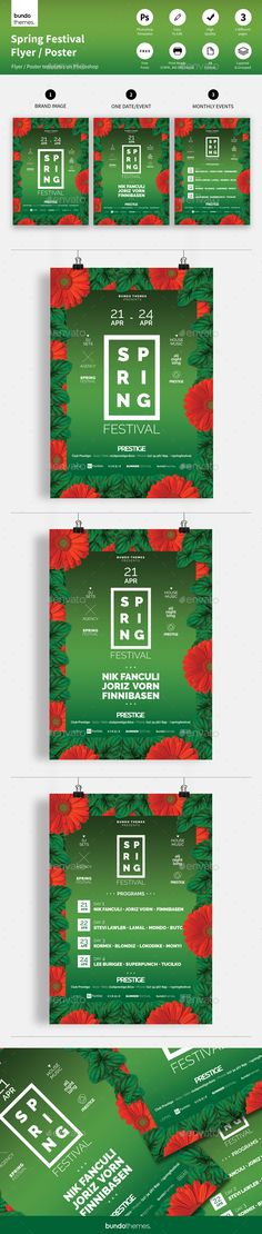 Spring Festival Flyer / Poster by bundothemes These flyer templates great for club, bar, lounge, festival, party, concert, event or other advertising purposes. Trendy design, c